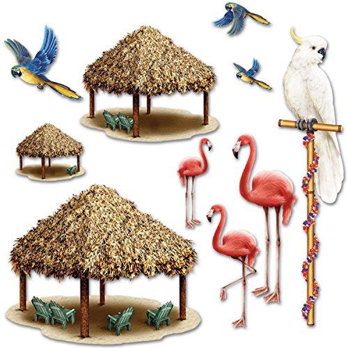 Club Pack of 120 Insta-Theme Luau Themed Tiki Hut and Tropical Bird Luau Photo Props 50