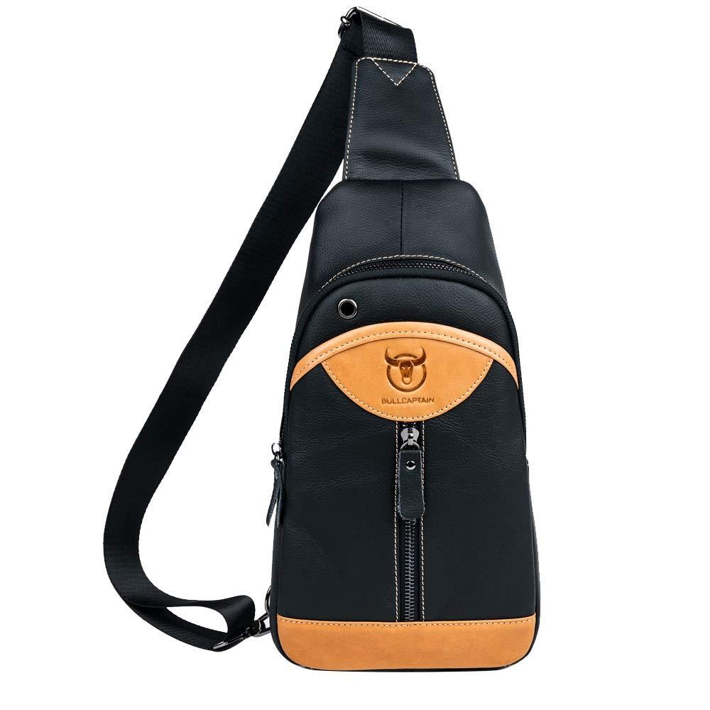 MUMUWU Men's Leather Fashion Chest Bag Contrast Fan Shape Leather Multi-Function Shoulder-Slung Chest Bag (Color : Yellow, Size : M)