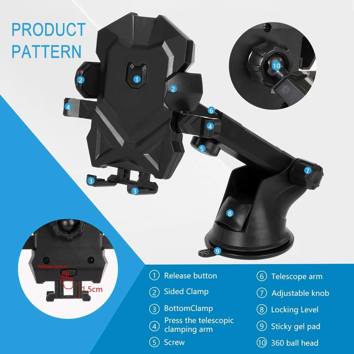 Dashboard /& Windshield Car Mount Phone Holder Long Neck Phone Cradle with Strong Sticky Gel Pad Compatible iPhone Xs X 8 Plus 7 Plus 6 6s Samsung Galaxy S9 S8 S7 S6 Edge and More Black