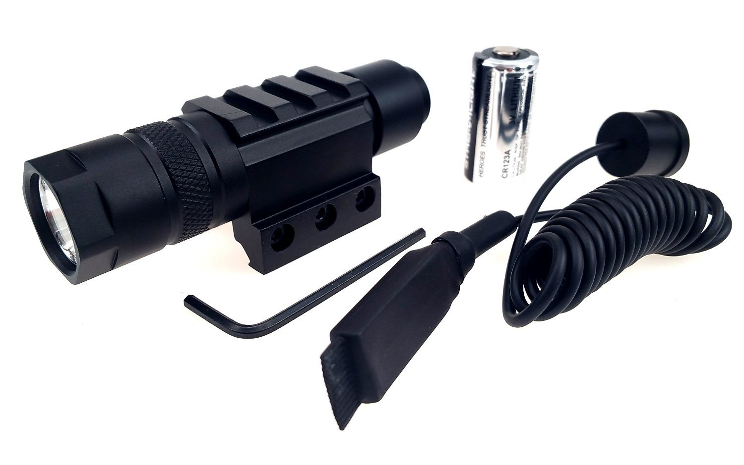 USA Cree LED T5 150 Lumens Amazingly Bright Black Tactical Flashlight w/ Pressure Switch, Rail Mount and Battery for Hunting Hiking Be Ready