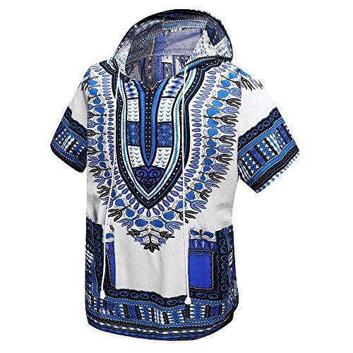 African Dashiki Unisex Traditional Hoodie Top(White) by Just No Logo