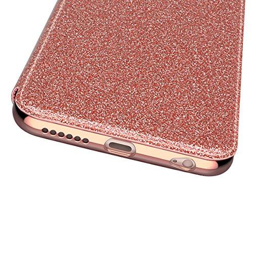 WE LOVE CASE iPhone 6 Plus / 6s Plus Hülle Glitzern Funkeln Bling Sparkle , iPhone 6 Plus 6s Plus Lederhülle Schutzhülle Im Retro Luxus Style Weiche Überzug Bumper Case Cover Rose Gold Muster Tasche H