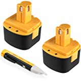 {Upgraded}Powerextra 2 Pack Lincoln 12V 3000mAh Replacement Battery for LIN-1244 LIN-1242 LIN-1201(with a free voltage tester pen)