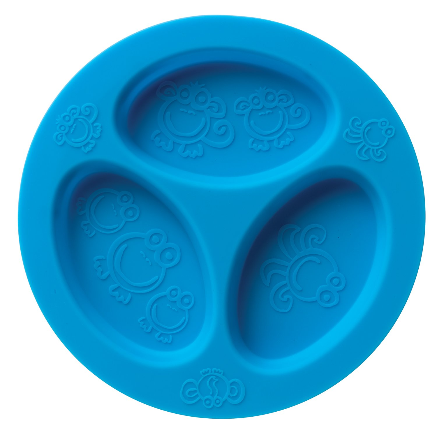 Silicone baby & toddler divided plate. Safe for Oven, Microwave, Dishwasher, Freezer and Boil SAFE! Blue