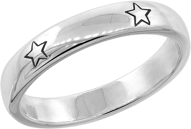 Two Stars  Stainless Steel Ring Sizes 6-10
