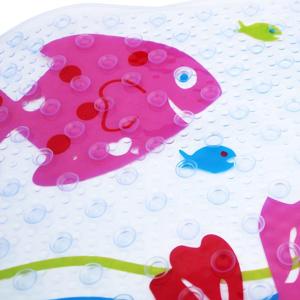 LLRY-Kiss Fish Alfombrilla de baño antideslizante para bebés con Alfombrilla antideslizante para bañera o ducha Duradero PVC resistente a hongos y mohos Numerosas ventosas resistentes