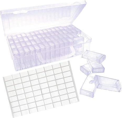 JZK Caja de Almacenamiento de Gemas Pintura Diamante con 64 Compartimentos Individuales con Tapa, mar Cuentas Organizador Cristales Titular Rhinestone contenedor: Amazon.es: Hogar