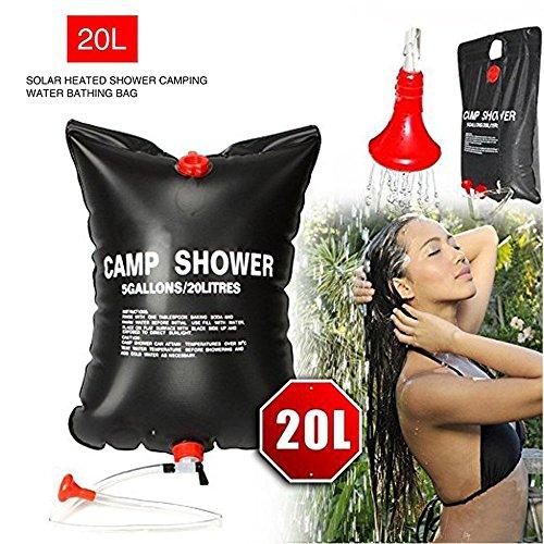 Verna Polly Summer Shower bag sun shower solar showers outdoor camping 5 gallon 20 Litre-Black by Verna Polly