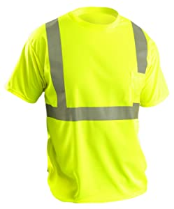 OccuNomix LUX-SSETP2B-YL Classic Standard Short Sleeve Wicking Birdseye T-Shirt, Class 2, 100% ANSI Wicking Polyester Birdseye, Large, Yellow (High Visibility)
