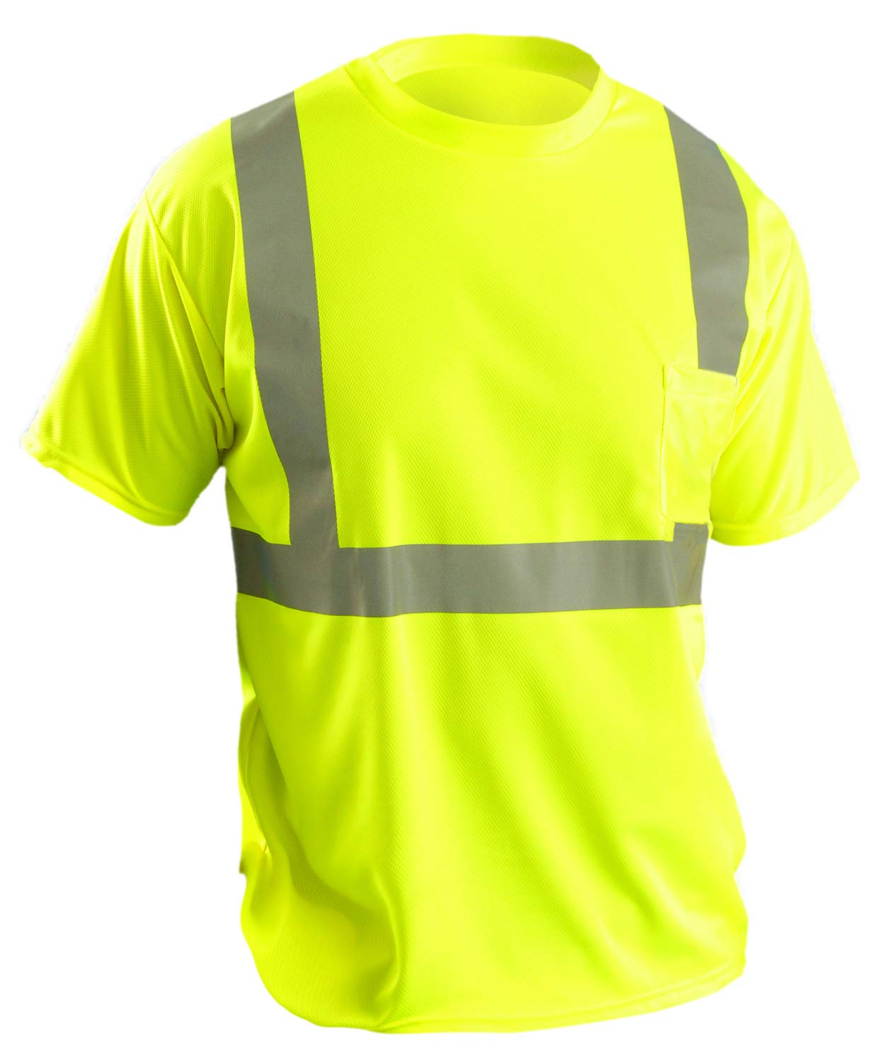 OccuNomix LUX-SSETP2B-YXL Classic Standard Short Sleeve Wicking Birdseye T-Shirt with Pocket, Class 2, 100% ANSI Wicking Polyester Birdseye, X-Large, Yellow (High Visibility)