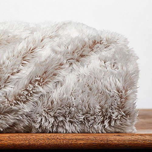 Berkshire Blanket Frosty Tipped Extra-Fluffy Plush Throw Mocha Latte