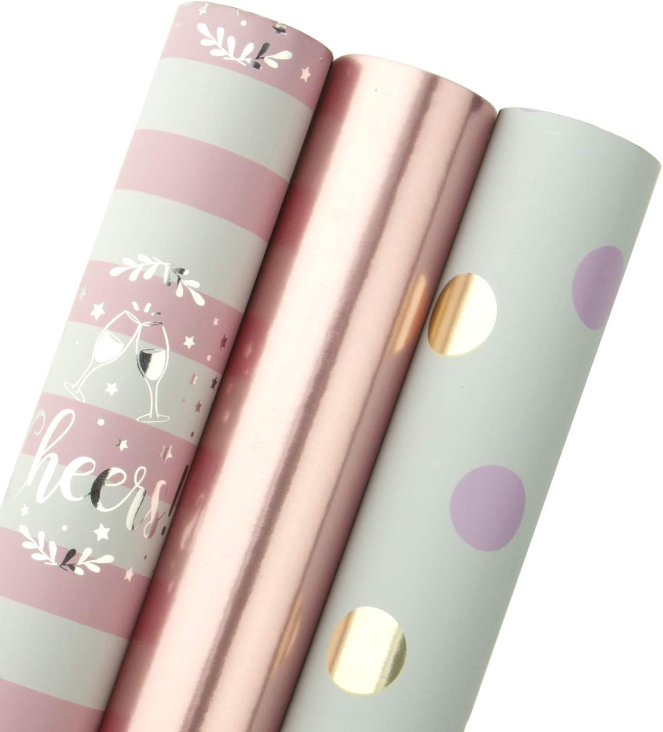WRAPAHOLIC Gift Wrapping Paper Roll - Rose Gold and Pink Set for Birthday, Holiday, Wedding, Baby Shower Gift Wrap - 3 Rolls - 30 inch X 120 inch Per Roll