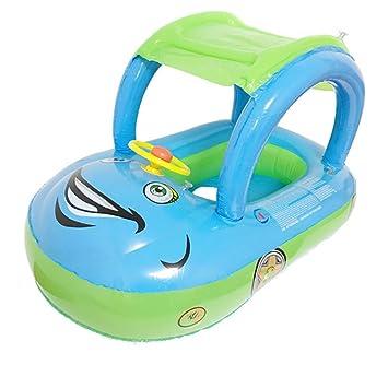 YEZOU Flotador para Bebé con Asiento y Techo Juguete de Piscina de Desarrollo de Nata Natación en Agua (Azul)
