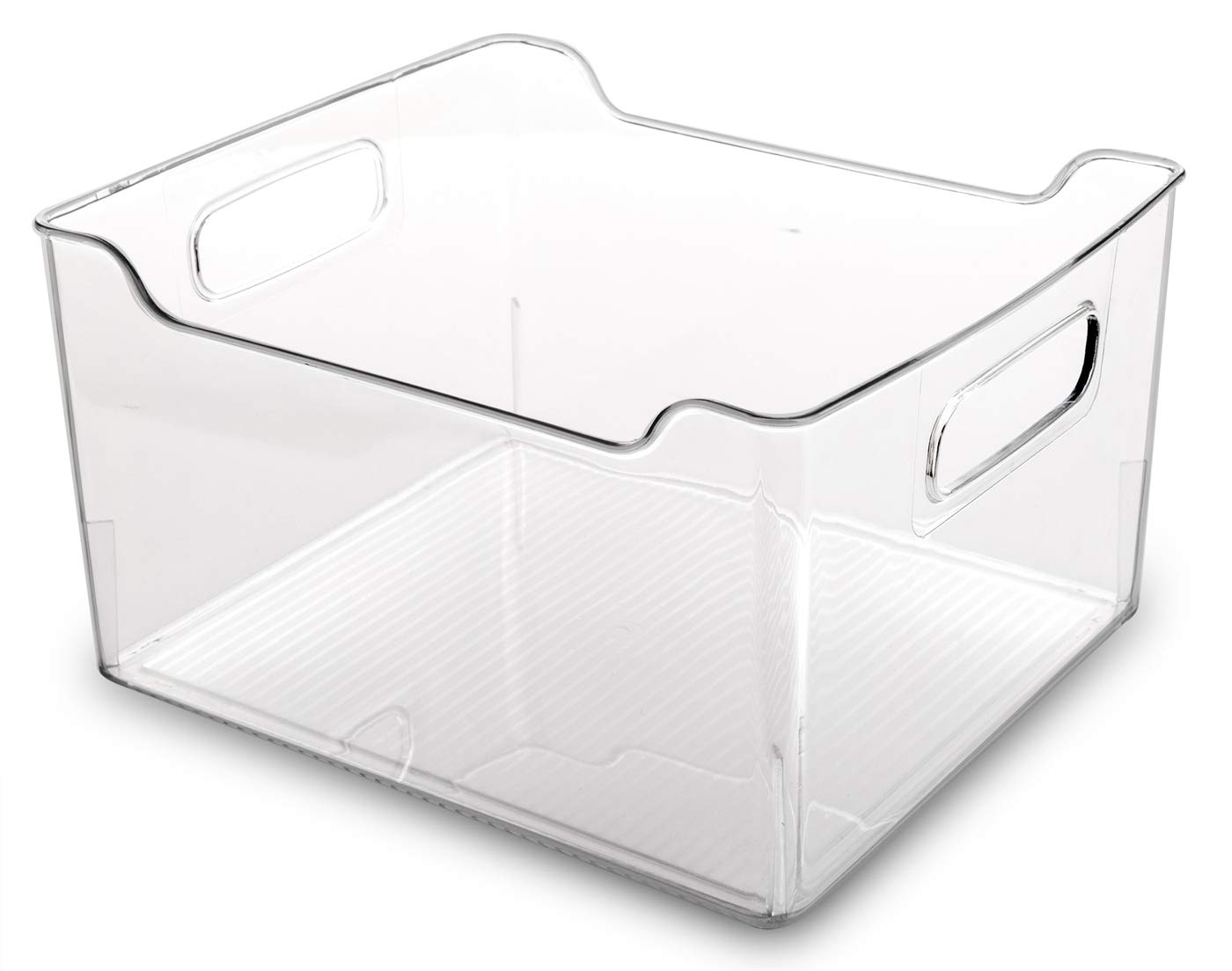 BINO Refrigerator, Freezer and Pantry Cabinet Storage Organizer Bin with Handles, Clear and Transparent Plastic Wide Nesting Food Container for Home and Kitchen 12040-CLR