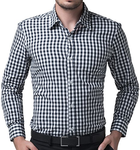 Fashion Formal Casual Plaid Shirts for Men Slim Fit (2XL) KL-1,Navy Plaid, XX-Large (Navy Gingham Dress)