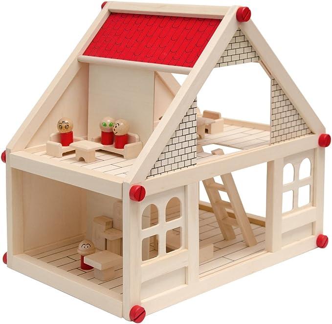 Amazon.es: EYEPOWER Casa de Muñecas en Madera para niños y niñas | 2 Plantas 4 habitaciónes 11 Muebles 4 Personajes | Casita en Miniatura fácil de Montar: Juguetes y juegos