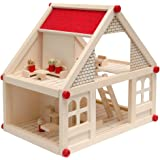 eyepower Puppenhaus aus Holz für Kinder, 2-stöckig | Mit vier süßen Figuren und Möbeln | Puppenstube 40x29x38cm | Spielzeug ab 3 Jahren