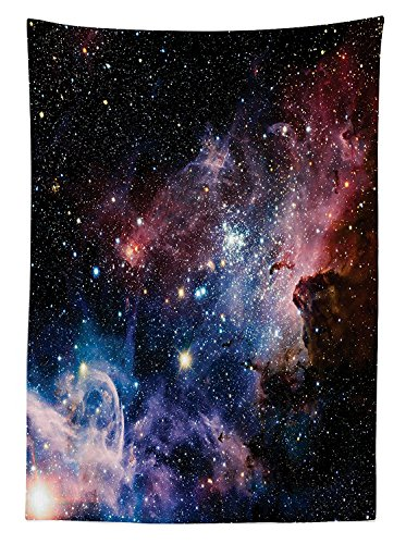 Space Decorations Tablecloth Stars Nebula Colorful Explosive in Space Galaxy Astronomic Magical Picture Print Rectangular Table Cover for Dining Room Kitchenes Navy (30h Gray Nebula Tables)