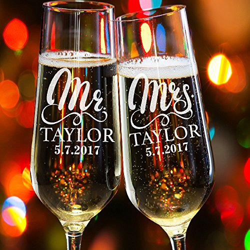 Lily's Atelier Set of 2, Hand Engraving Mr. Mrs. Last Name & Date Custom Wedding Toast Champagne Flute Set, Wedding Toasting Glasses - Etched Flutes for Bride & Groom Customized Wedding Gift #E11 (Wedding Toast)