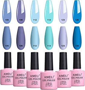 AIMEILI Soak Off UV LED Gel Nail Polish Multicolour/Mix Colour/Combo Colour Set Of 6pcs X 10ml - Kit Set 32