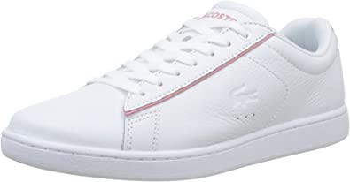 Lacoste Mens Carnaby Evo 118 Shoes Pink Leather Casual Fashion Sneaker NEW