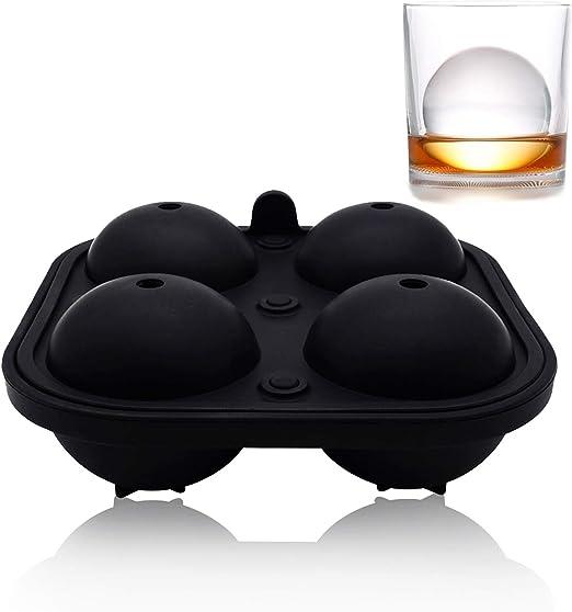 Helpcook - Moldes de silicona para hacer bolas de hielo para whisky o cócteles, con esfera redonda