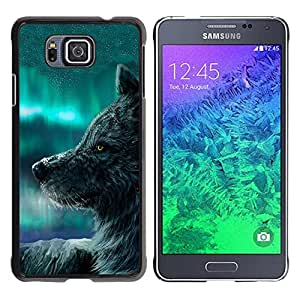 Caucho caso de Shell duro de la cubierta de accesorios de protección BY RAYDREAMMM - Samsung GALAXY ALPHA G850 - Wolf Blue Sky Wild Dog Animal Forest Fairytale
