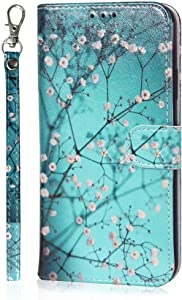 JanCalm Compatible with iPhone X Case/iPhone Xs Case, Cute Floral Pattern Premium PU Leather [Wrist Strap] [Card/Cash Slots] Stand Feature Flip Cases Cover for iPhone X/XS (Plum Blossom)