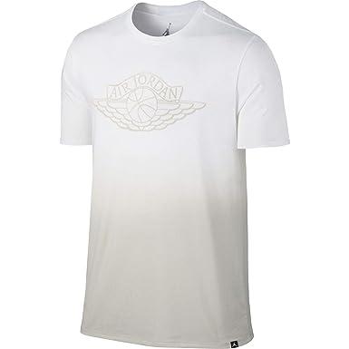 704a0b250e1a1d Nike Jordan Men s Fadeaway Faded T-Shirt-White-Large at Amazon Men s  Clothing store