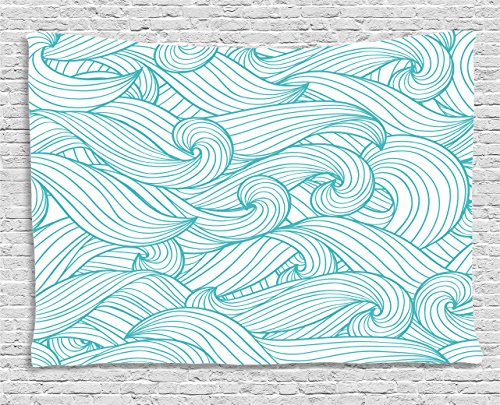 Ambesonne Turquoise Decor Collection, Abstract Pattern With Waves And Cloud Fashion Modern Style Artwork , Bedroom Living Room Dorm Wall Hanging Tapestry, 80W X 60L Inch (Tapestries Collection Modern)