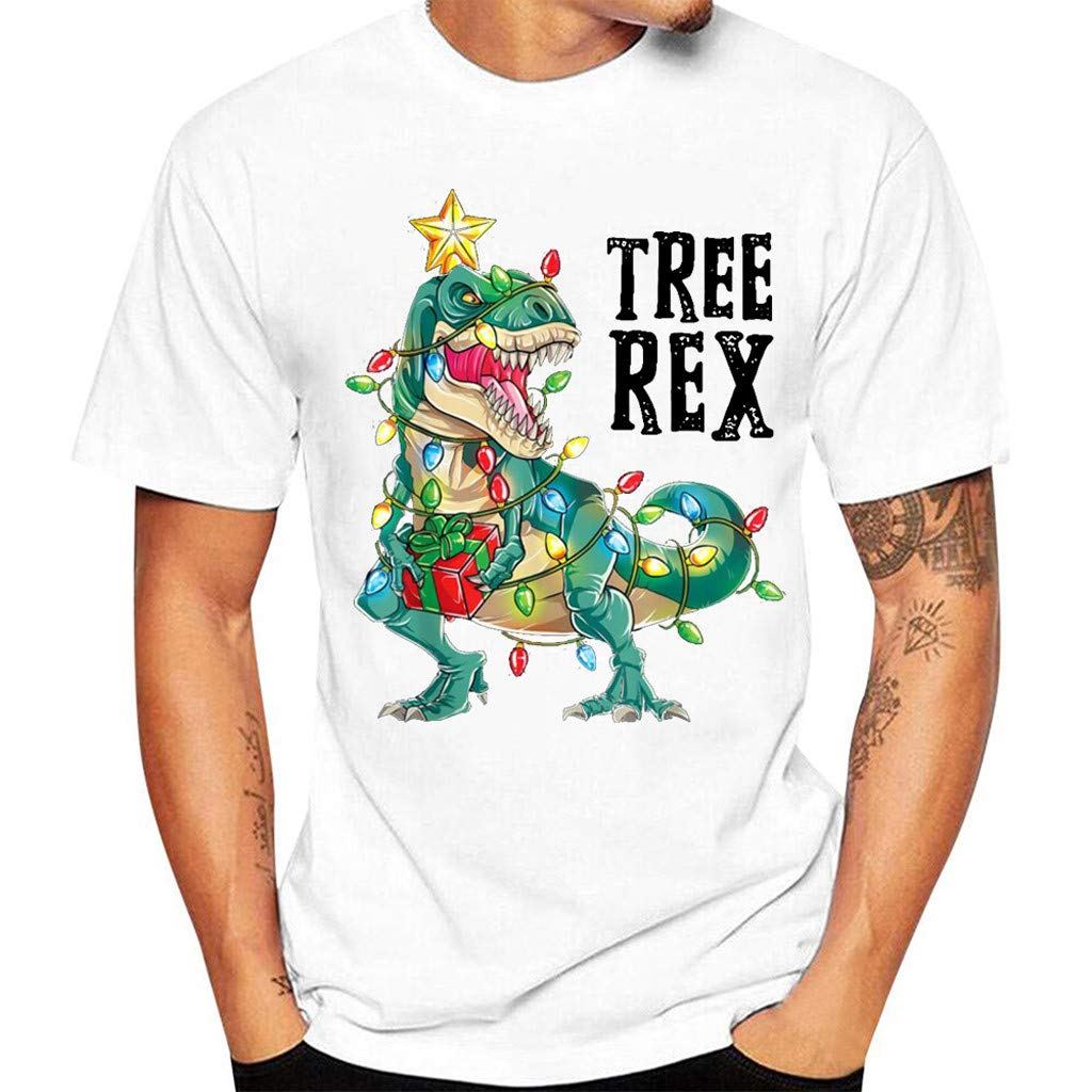 HebeTop Short Sleeve Christmas Shirts for Men Merry and Bright Shirt Letter Print Christmas Graphic Tee Shirts Tops by ▶HebeTop◄➟HOT SALES