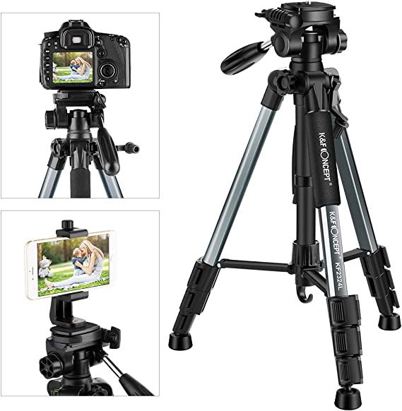 K&F Concept 56''Compact Lightweight Travel Portable Camera Tripod with Phone Mount Holder for Cell Phone DSLR and OSMO Pocket