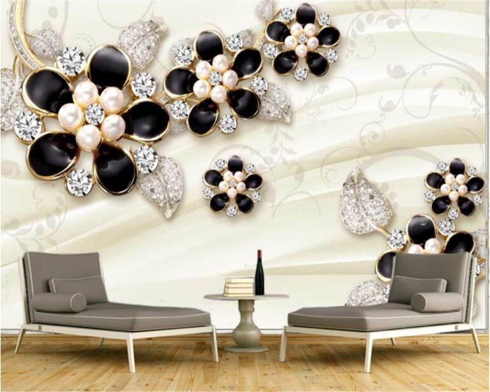 Sencillo Papel Tapiz de Moda 3D Relieve Joyas Flores Calamar ...