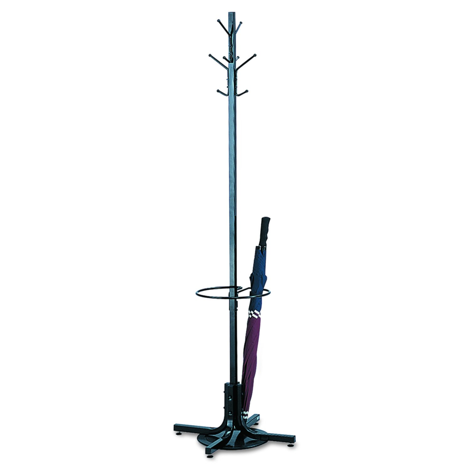 Safco Products Costumer Coat Rack Tree with Umbrella Stand, Black