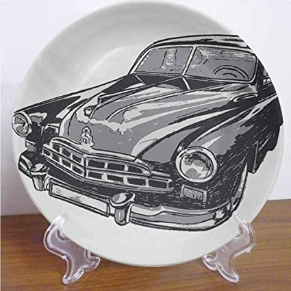 8 Cars Ceramic Dinner Plate Vintage Travel Trailers Colorful Vehicles with Geometrics Camping Holiday Decor Accessory for Dining Table Tabletop Home Decor