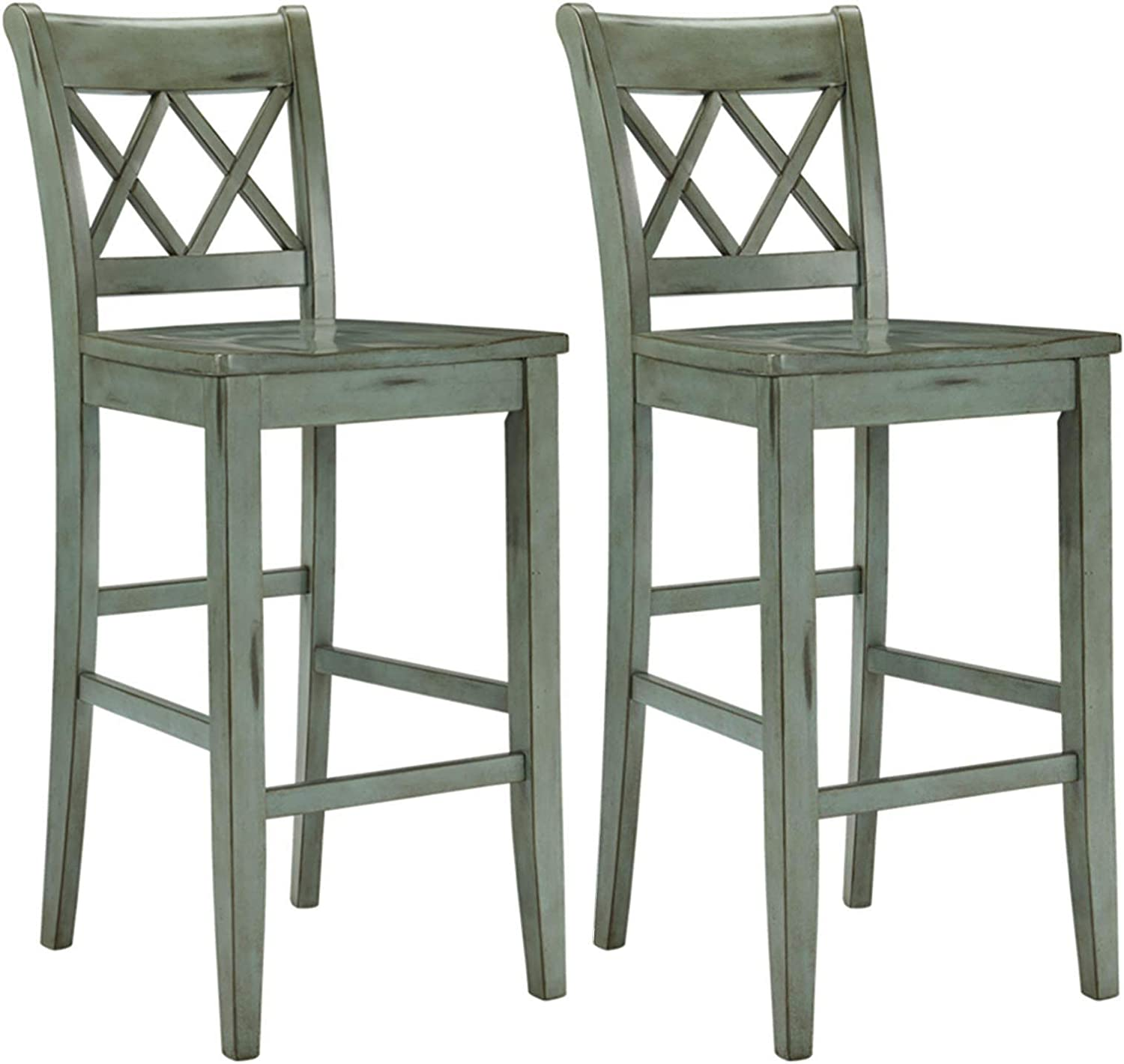 Ashley Furniture Signature Design – Mestler Bar Stool – Pub Height – Vintage Casual Style – Set of 2 – Blue Green