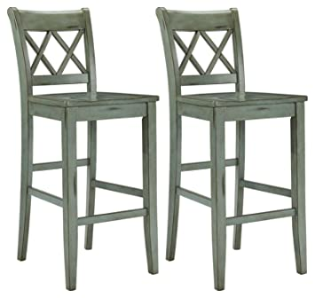 Brilliant Ashley Furniture Signature Design Mestler Bar Stool Pub Height Vintage Casual Style Set Of 2 Blue Green Pabps2019 Chair Design Images Pabps2019Com