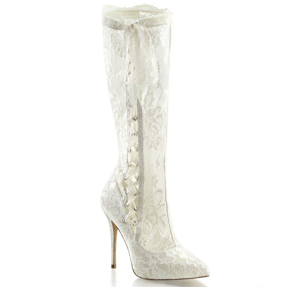 Ivory Satin-Lace Fabulicious 5 Heel 3//8 Hidden Platform Knee High Boot Womens Boots Size 9
