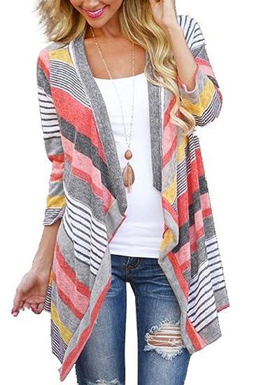 Myobe Womens 34 Sleeve Sweaters Cardigans Striped Printed Open