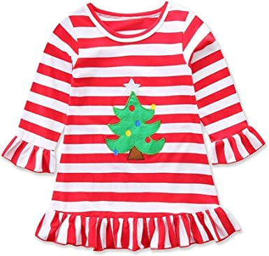 US Stock Christmas Toddler Kids Baby Girls Deer Clothes Cotton Party Dress Gifts