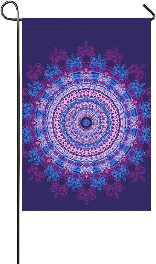 Adorno decorativo para el hogar, exterior, doble cara, hermosa tarjeta, mandala, círculo geométrico, bandera del jardín, bandera de la casa, decoraciones del jardín, bienvenida de temporada, bandera: Amazon.es: Jardín