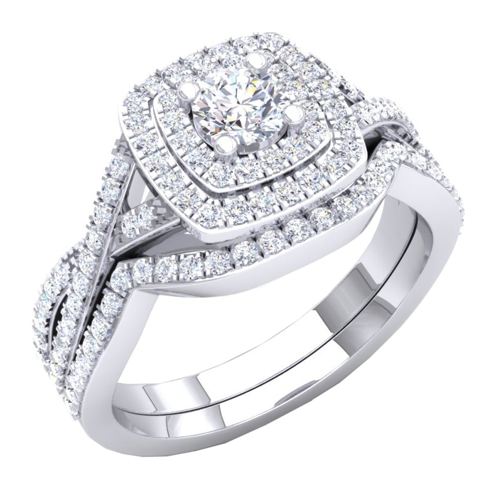 1.40 Carat (Ctw) 10K White Gold Round Cut Cubic Zirconia Ladies Halo Engagement Ring Set (Size 6) by DazzlingRock Collection (Image #1)