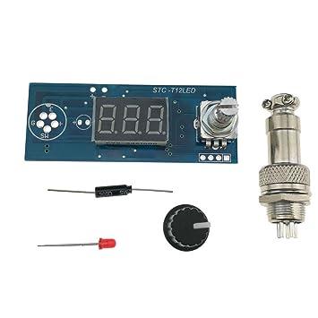 KUNSE T12 Stc Eléctrico Led Unidad Digital Soldador Estación Controlador De Temperatura Kit De Bricolaje para Hakko T12 Led Interruptor De Vibración: ...