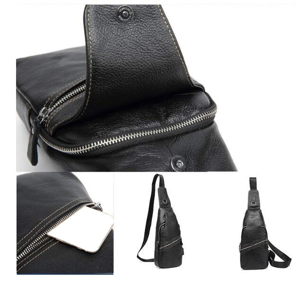 FYH Textured Fashion Casual Cool Crossover Bags Sack Satchel Black Handbag
