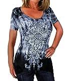 JWK Womens Printed Crewneck Cozy Hipster Short Sleeve Hot Top T-Shirt