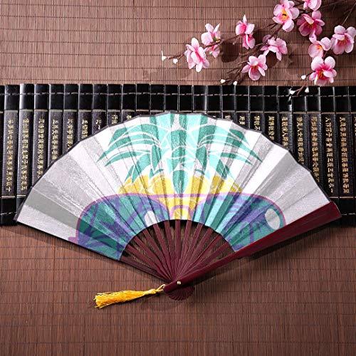 (JXCSGBD Japanese Fans Folding Fan Case Sun and Hibiscus Stripes with Bamboo Frame Tassel Pendant and Cloth Bag Japanese Fans Folding Fans Kids Hand Fan Gifts Hand Held Fan Folding)