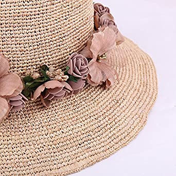 YueLian Womens Party Summer Bucket Straw Hats Bowler with Flowers