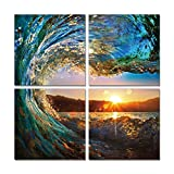 Natural art – Green Sea Wave Painting 4 pcs Wall Art Ocean View Art Print on Canvas Wall Decoration Wrapped with Wooden Frame Easy to Hang, (12×12in×4pcs) Picture