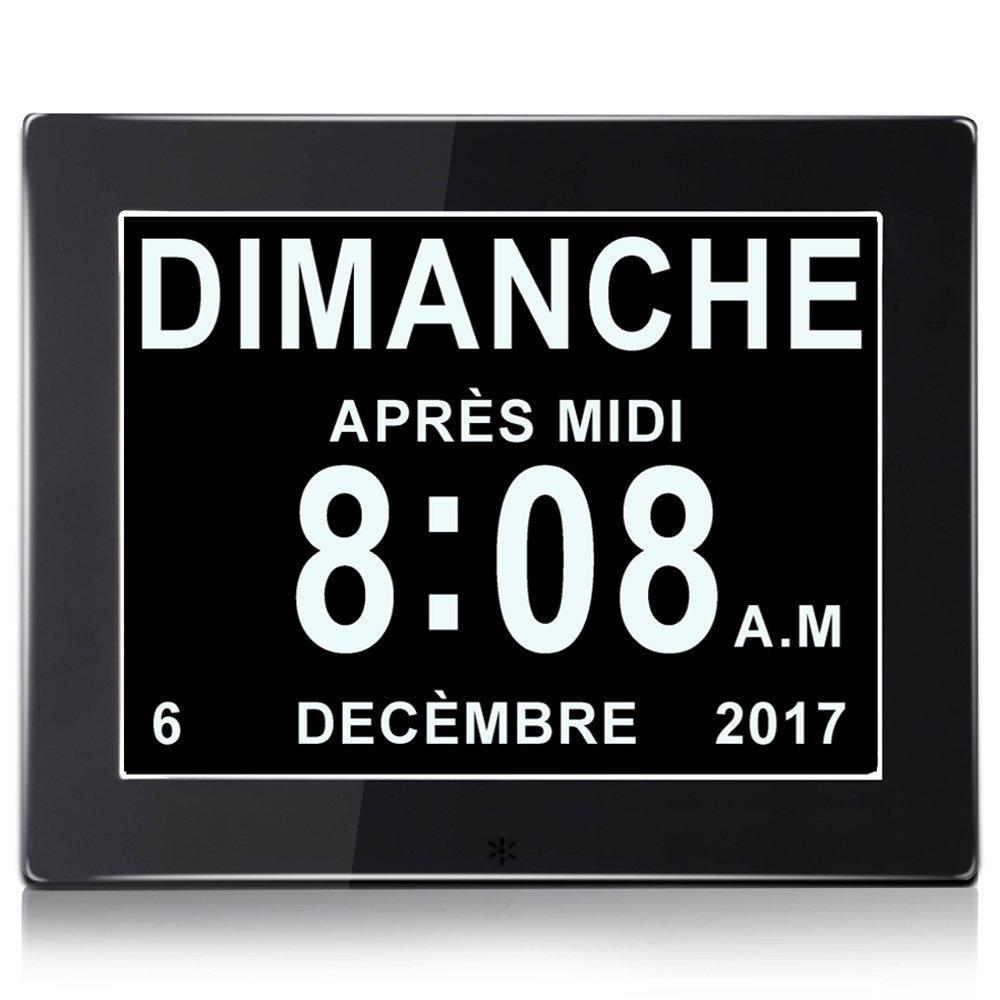 KSD- 8' LCD Horloge Numérique Calendrier avec Date, Horloge Calendrier avec Date, Jour et Heure   Horloge Alzheimer   Horloge pour Les Seniors,C'est pour Les Parents (Blanc)