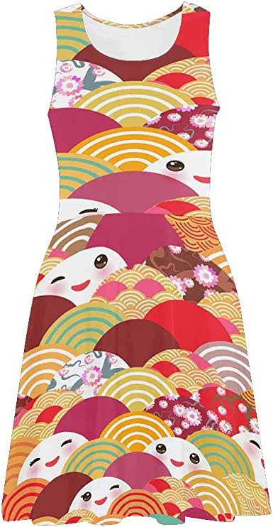 XS-3XL InterestPrint Floral Pattern Womens Sleeveless Sundresses Scoop Neck Sleeveless Tank Dresseses